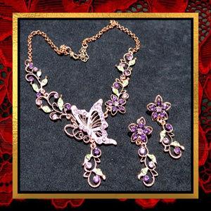 New Purple Butterfly Flower Necklace Set  #707